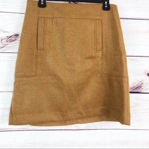 Sk70 Loft tan mini wool blend skirt